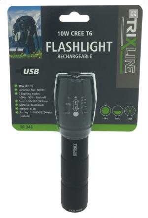 Ručné svietidlo Trixline Flashlight nabíjateľné TR346